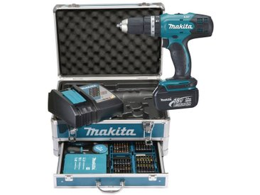 Makita MAKITA Akku-Schlagbohrschrauber »DHP453RFX2«, 18V, 3Ah, 42Nm, inkl. Zubehörset, Akku und Ladegerät, blau, 2 Akkus, blau