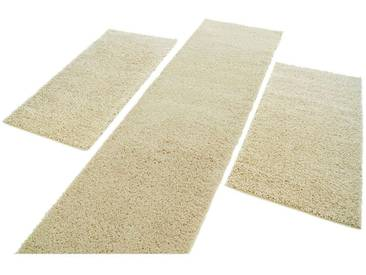 Carpet City Bettumrandung »Shaggi uni 500« , höhe 30 mm, (3-tlg), natur, 30 mm, creme