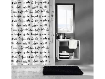 Kleine Wolke KLEINE WOLKE Duschvorhang »Hello«, weiß, weiß/schwarz