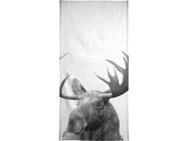 Juniqe Handtuch »Print 37«, Weiche Frottee-Veloursqualität, weiß, Frotteevelours, schwarz-grau-weiß