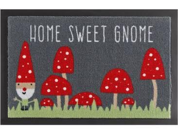 HANSE Home Fußmatte »Home Sweet Gnome«, rechteckig, Höhe 7 mm, rutschhemmend beschichtet, grau, 7 mm, grau-rot