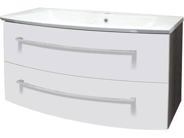 FACKELMANN Waschtischunterbau »Rondo«, Breite 99 cm, weiß, weiß/eichefarben dunkel