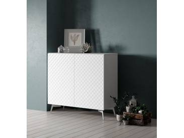 Bruno Banani bruno banani Sideboard »Design 1«, mit 3D-Fronten in Hochglanz, in zwei Breiten, weiß, 2 Türen (105/42/97 cm), weiß Hochglanz