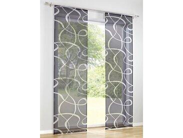 heine home Schiebevorhang bedruckt, grau, mit Klettband, anthrazit/weiß