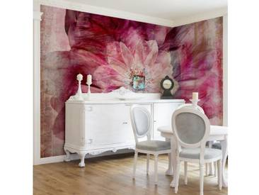 Bilderwelten Vliestapete Blumen Breit »Grunge Flower«, rosa, 320x480 cm, Pink