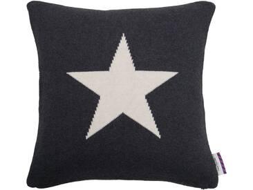 Tom Tailor Kissenhülle »Knitted Star«, grau, Baumwolle, anthrazit