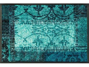 wash+dry by Kleen-Tex Fußmatte »Vintage Patches«, rechteckig, Höhe 7 mm, blau, 7 mm, blau