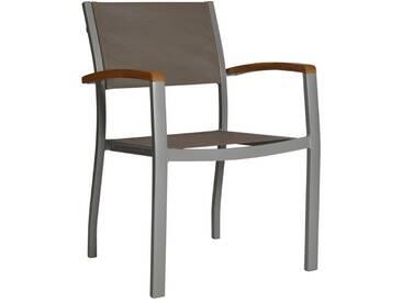 MERXX Gartenstuhl »Monaco«, Aluminium/Textil/Akazie, stapelbar, grau, grau, 1 Stuhl, grau