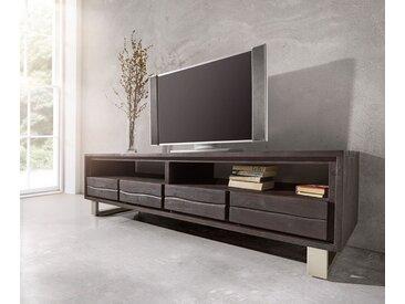 DELIFE Fernsehtisch Live-Edge Akazie 190 cm mit Schubkästen Baumkante, schwarz, 190x46 cm, Tabak