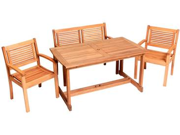 MERXX Gartenmöbelset »Cordoba«, 4tlg., 2 Sessel, Bank, Tisch, Eukalyptusholz, natur, natur
