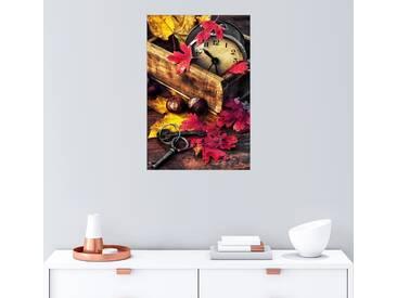 Posterlounge Wandbild »Vintage-Uhr mit Herbstblättern«, bunt, Holzbild, 20 x 30 cm, bunt