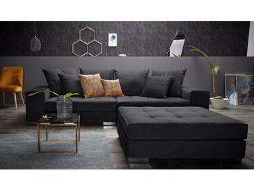 INOSIGN Big-Sofa »Vale« mit Steppung im Sitzbereich, Federkern und Zierkissen, schwarz, schwarz