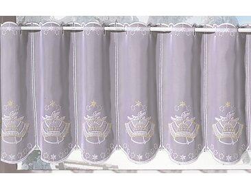 Stickereien Plauen Scheibengardine »Glocke«, Durchzuglöcher (1 Stück), veredelt mit echter Plauener Spitze Stickerei, weiß, Durchzuglöcher