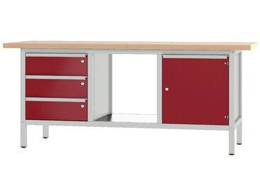 PADOR Werkbank »31 S 304«, rot, 85.5 cm, grau/rot