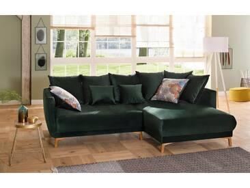 Home affaire Polsterecke »Tilda«, mit losen Rückenkissen, Zierkissen, im skandinavischem Design, grün, 251 cm, Recamiere rechts, grün