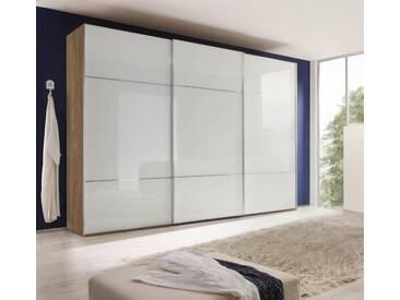 nolte® Möbel Schwebetürenschrank »Marcato 3« mit Fronten aus Weißglas, weiß, Korpus Sonoma Eiche, Front Weißglas