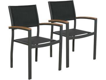 bella sole BELLASOLE Gartenstuhl »Melbourne«, (2er Set), Alu/Teakholz/Textil, stapelbar, schwarz, schwarz, 2 Stühle, anthrazit/schwarz