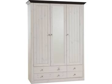 Home affaire , Kleiderschrank »Skanderborg«, weiß, 3-türig (Breite 145 cm), ohne Aufbauservice, ohne Aufbauservice, weiß/kolonial