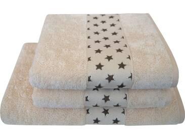 Dyckhoff Handtuch Set »Sternchen«, mit niedlicher Sternchenbordüre, natur, 3tlg.-Set, natur-beige