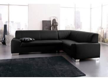 DOMO collection Ecksofa, schwarz, 249 cm, langer Schenkel links, schwarz