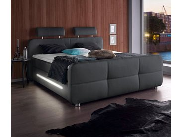 Places of Style Boxspringbett, inkl. Topper und LED-Beleuchtung, schwarz, Bonnell-Federkernmatratze, H2, 180x200 cm, schwarz