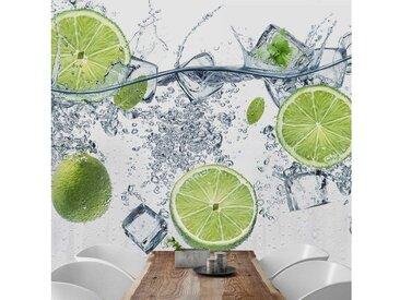Bilderwelten Vliestapete - Fototapete Quadrat »Erfrischende Limette«, bunt, 240x240 cm, Farbig