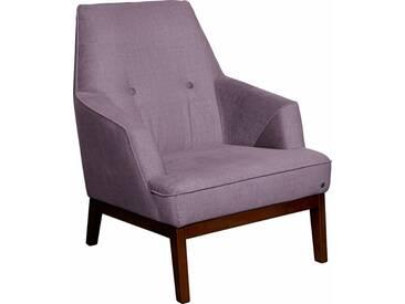 TOM TAILOR Sessel »COZY«, im Retrolook, mit Kedernaht und Knöpfung, Füße nussbaumfarben, lila, lilac STC 8