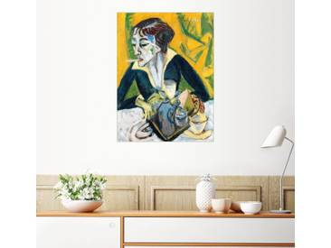 Posterlounge Wandbild - Ernst Ludwig Kirchner »Erna mit Zigarette«, bunt, Holzbild, 60 x 80 cm, bunt