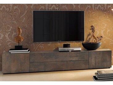Places of Style Lowboard, Breite 200 cm, braun, Stahldekor braun
