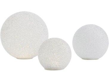 LED Dekolicht »Eiskristall«, LED-Leuchtkugel-Set, 3-tlg. Batteriebetrieb, weiß, Ø20 cm, weiß