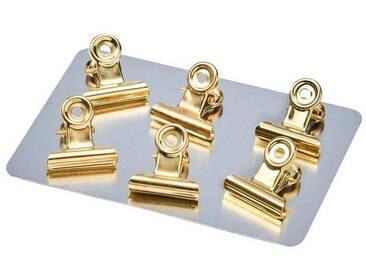 BUTLERS HANG ON »Magnet Clip klein 6 Stück«, gold, Länge 2,1 x Breite 1,5 x