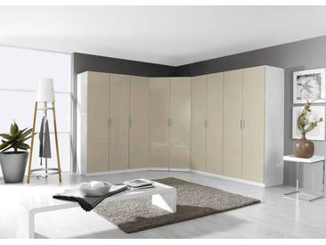 rauch PACK´S Eckkleiderschrank »Celle«, grau, Höhe 197 cm, ohne Spiegel, ohne Spiegel, weiß/sandgrau Hochglanz
