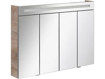 FACKELMANN Spiegelschrank »Twindy«, Breite 110 cm, 4 Türen, grau, silberfarben/piniefarben anthrazit