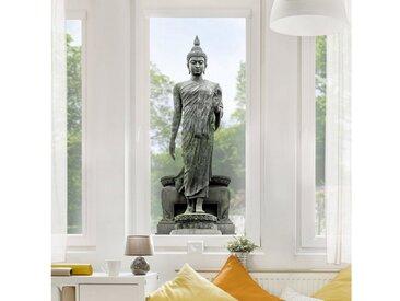 Bilderwelten Fenstersticker »Buddha Statue«, grau, Grau