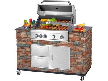 El Fuego EL FUEGO Gasgrill »Grillküche Built-in«, BxTxH: 147x68x130 cm, silberfarben, silberfarben