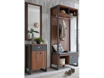 Home affaire Garderobe »Detroit« 90 cm breit, im angesagten Industrial Look, braun, braun/schieferfarben