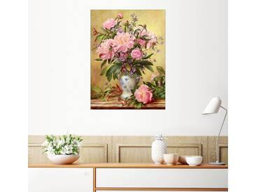 Posterlounge Wandbild - Albert Williams »Vase mit Pfingstrosen und Glockenblumen«, bunt, Holzbild, 120 x 160 cm, bunt