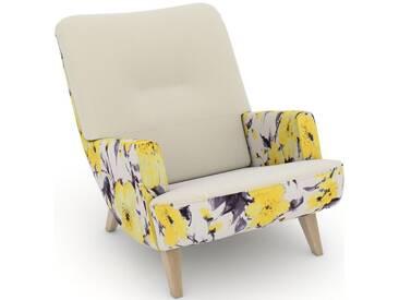 Max Winzer® build-a-chair Loungesessel »Borano« im Retrolook, zum Selbstgestalten, natur, Korpus: Microvelours Blüte gelb, Samtvelours creme
