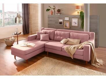 Home affaire Ecksofa »Virginia«, mit feiner Steppung im Rücken, in 3 Bezugsqualitäten, rosa, Recamiere links, rosé