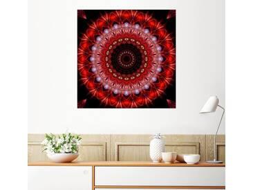 Posterlounge Wandbild - Christine Bässler »Mandala Lebenslust«, rot, Holzbild, 120 x 120 cm, rot