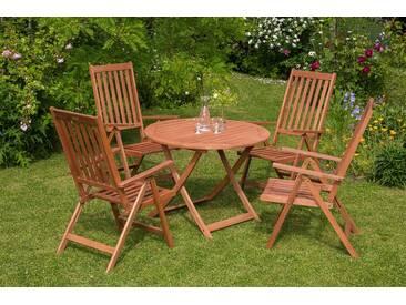 MERXX Gartenmöbelset »Vitoria«, 5tlg., 4 Sessel, Tisch, klappbar, Eukalyptusholz, natur, natur