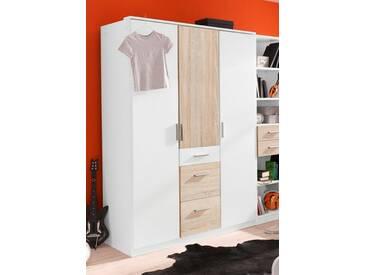 Wimex Kleiderschrank »Joker«, weiß, Breite 135 cm, 3-türig, Ohne Spiegel, weiß/struktureichefarben hell