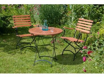 MERXX Gartenmöbelset »Schloßgarten«, 3tlg., 2 Sessel, Tisch, klappbar, Eukalyptusholz, natur, natur