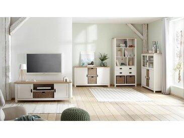 Home affaire Lowboard »Georgina« mit 2 Türen, 2 offene Fächer und 1 Korb, Breite 148 cm, weiß, weiß/creme