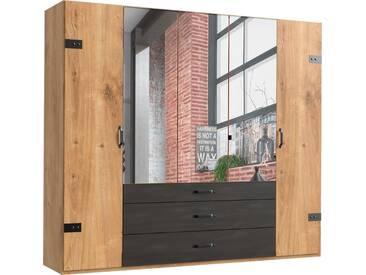 Fresh To Go Kleiderschrank »Detroit«, natur, Breite 250 cm, 5-türig, Höhe 218 cm, Raw Steel+Metall