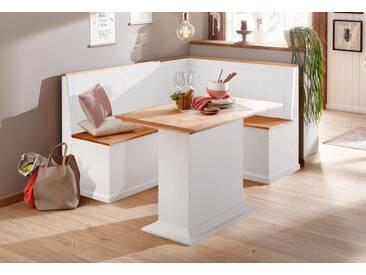 Home affaire Eckbankgruppe »Sara« bestehend aus Eckbank und Tisch in 2 Größen, weiß, Set klein, weiss-honig