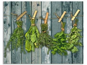 Artland Küchenrückwände »Team 5: Kräuter mit Holzoptik«, grün, 55x70 cm, Grün