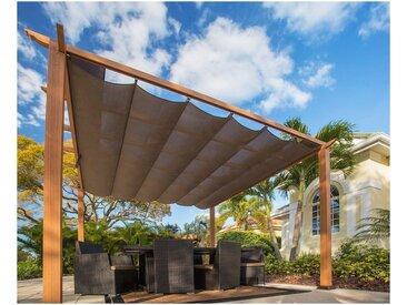 50NRTH Pergola »Aluminium Pavillon Florida 11x11«, BxL: 350x350 cm, inkl. Sonnensegel, braun, 350 cm x 350 cm, braun