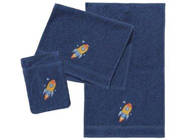 myToys Frottierset, 2 Handtücher & 1 Waschlappen, Rakete, marine, blau, blau