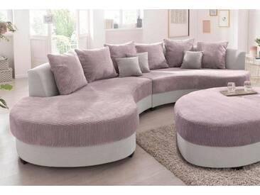 BENFORMATO HOME COLLECTION BENFORMATO HOME Big-Sofa, grau, Ottomane rechts, hellgrau/rosa